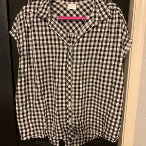 B & W Oversized Button Up Blouse